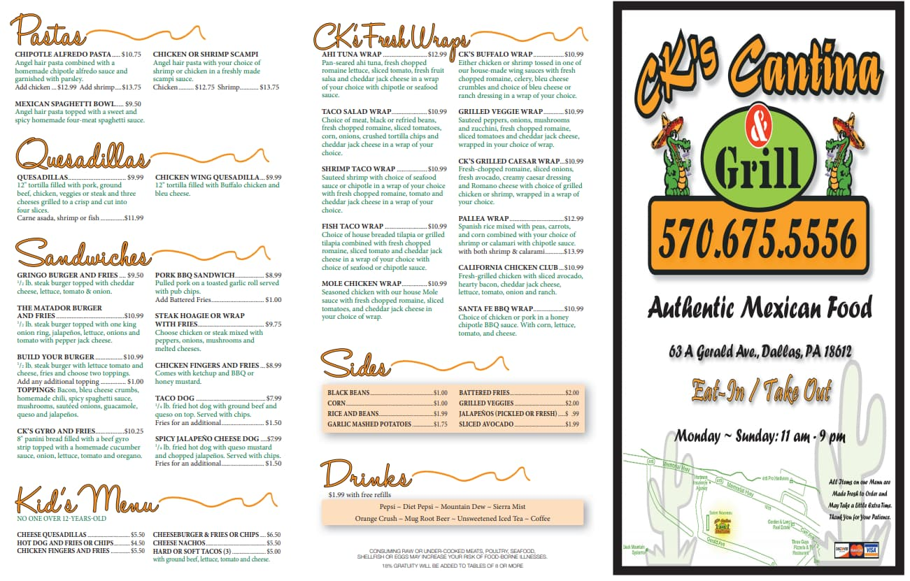 Page 1 of CKS Dallas PA Menu