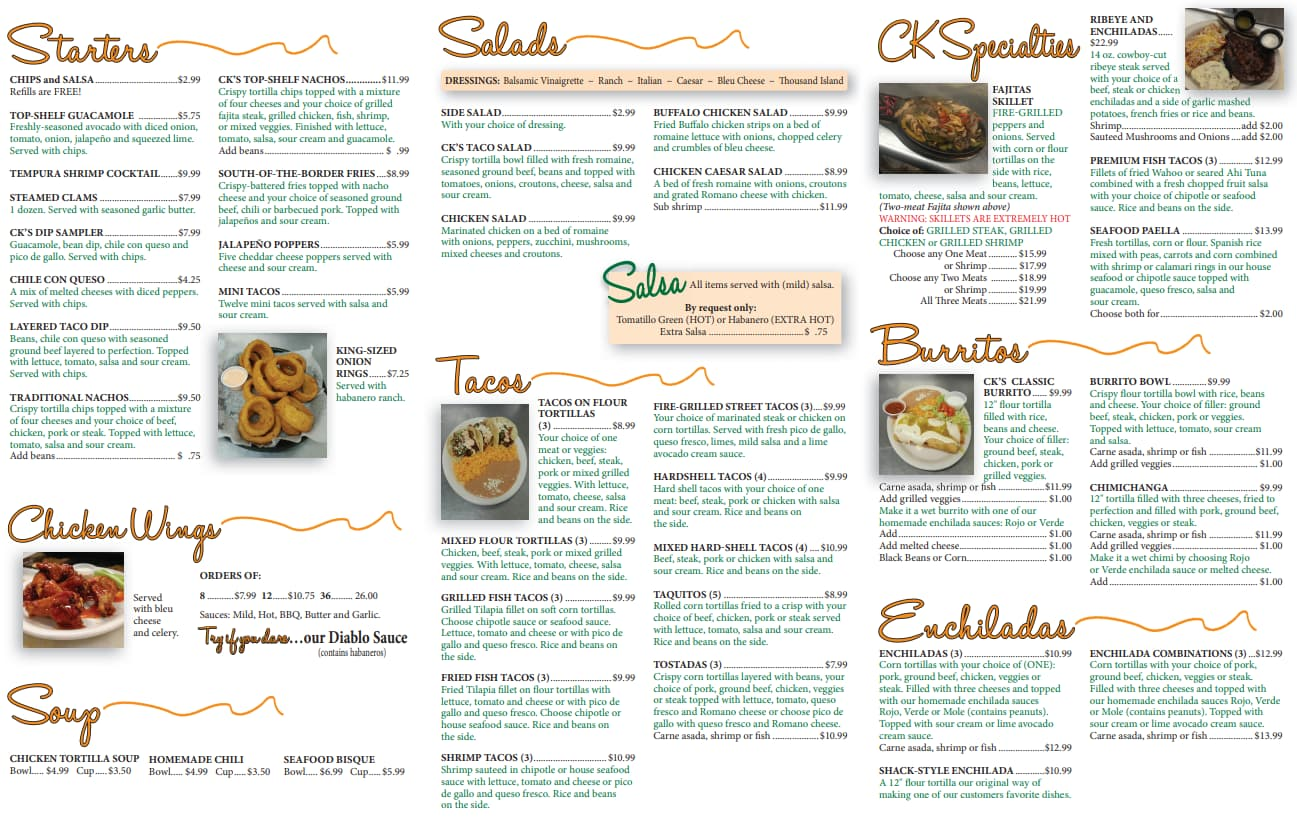 Page 2 of the CKs Dallas PA Menu